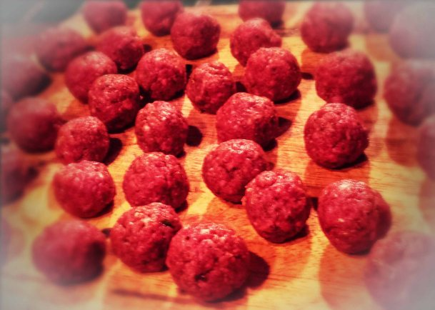 Meatballs, formed by hand