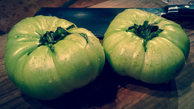 Impeccably fresh & crispy heirloom green tomatoes ~ perfect for pickling