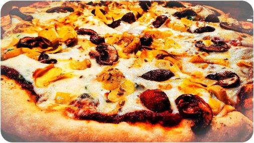 Pizza with artichokes, baby portabello mushrooms and fennel seeds