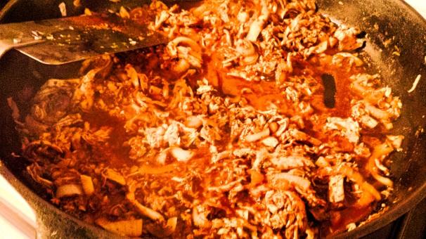 Pollo en Adobo, in the skillet