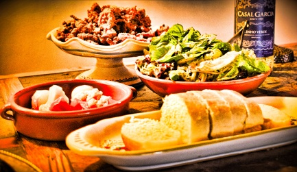 Freshly baked bread, a green salad and giardiniera make the perfect accompaniments to crispy fried calamari