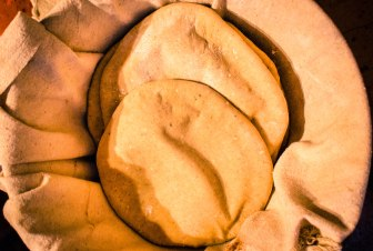 Homemade pita bread ~ the perfect accompaniment to lamb kabobs and grilled eggplant