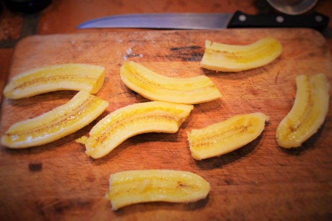 Bananas, sliced and ready to be battered & fried