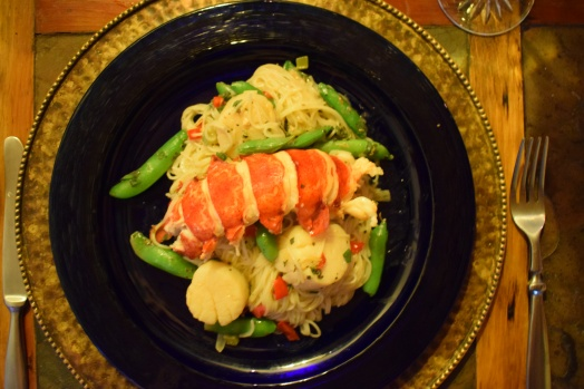 Lobster & sea scallops over pasta