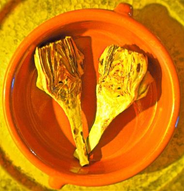 Pan-seared artichokes