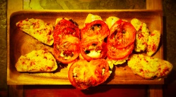 A tray of tapas-style bruschetta