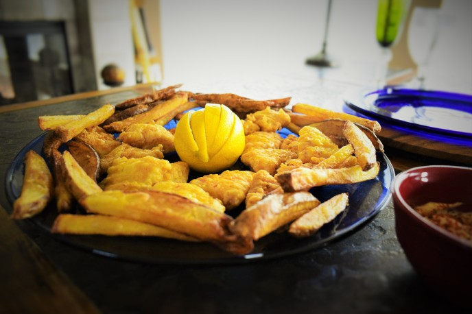 A platter of Spanish-style fish & chips
