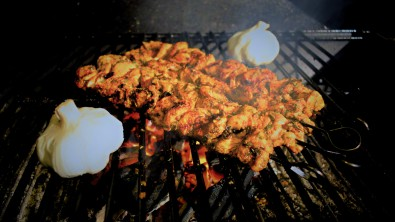 Souvlaki, grilled over olive wood and hard wood charcoal